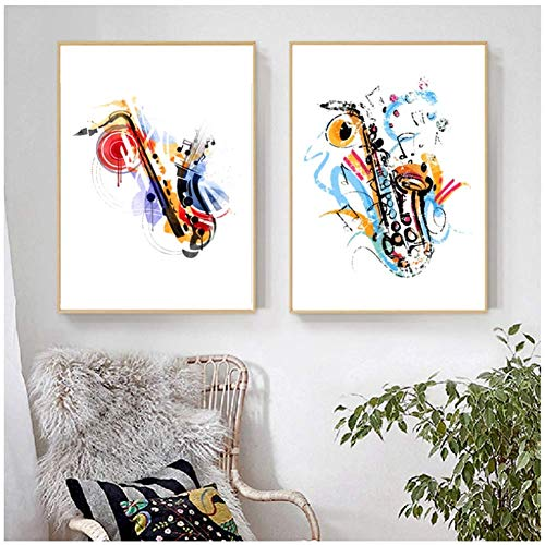 Sax Art Print aquarel abstract vintage saxofoon poster muziek muurkunst canvas schilderij-50x70cm frameloos