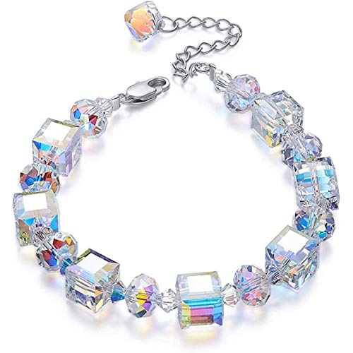 Uymkjv Pulsera de Lujo con Perlas y Cristales de Plata, Regalos de joyera Hechos a Mano