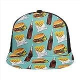 FONDSILVER - Gorra de béisbol ajustable con estampado en 3D, para hamburguesas, hamburguesas, patatas fritas, bebidas unisex y jóvenes, color negro