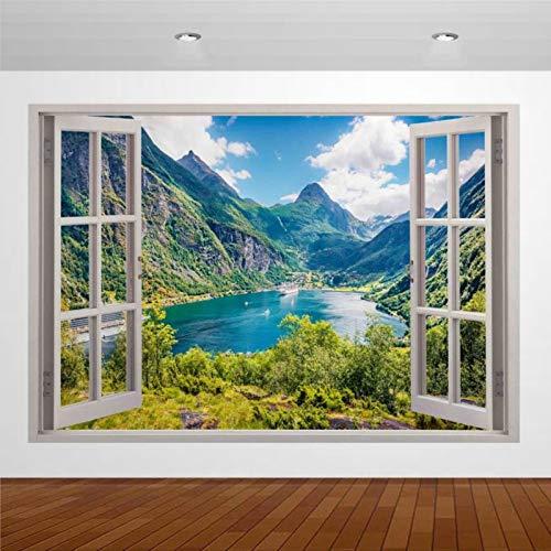 Nature Beautiful Lake Mountain Cruise Boat Noruega 3D Mural de pared adhesivo decorativo para ventana abierta falso arte de pared vinilo extraíble para dormitorio sala de estar