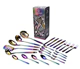 WaxonWare Stainless Steel Iridescent Kitchen Tools and Flatware (25-Piece Set) Complete Utensil & Silverware Cutlery Set Bundle | Forks,Knives,Spoons,Spatula, Ladle, Turner & More | Rainbow PVD Coated