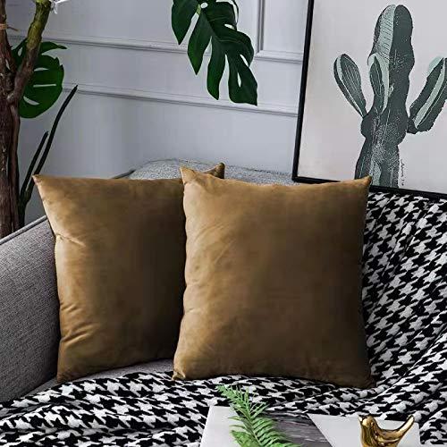 UPOPO Juego de 2 fundas de cojín de terciopelo, decorativas, monocolor, para sofá, dormitorio, salón, con cremalleras, 50 x 50 cm, color dorado