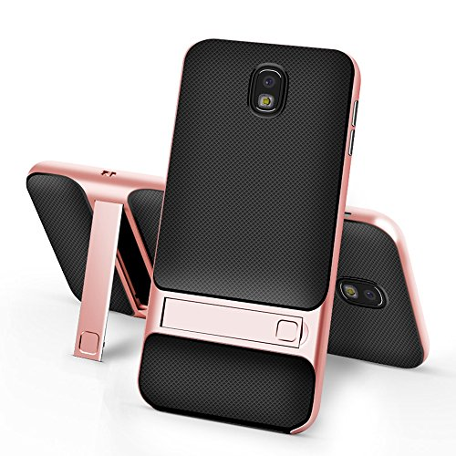 UBERANT Capa para Galaxy J7 Pro, TPU resistente à absorção de choque, camada dupla, híbrida, com suporte, capa para Samsung Galaxy J7 Pro J730 5,5 polegadas, ouro rosa
