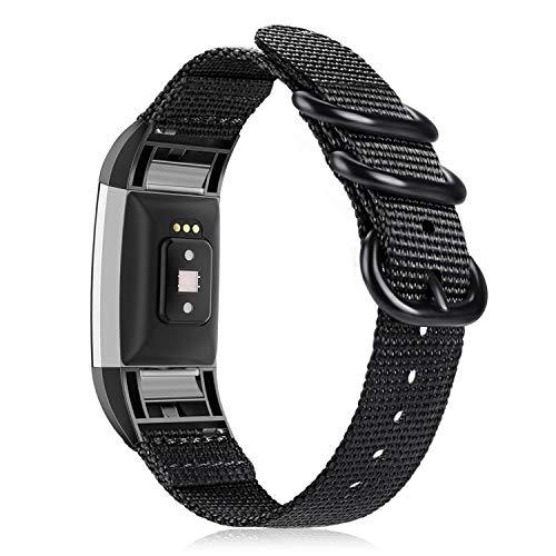 FINTIE Cinturino Compatible con Fitbit Charge 2 - Banda di Ricambio in Nylon Sportivo Braccialetto Watch Strap con Chiusura Regolabile, Nero