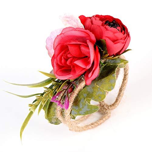 miaoyu Pulsera de muñeca de novia, flores de boda, dama de honor, novia, bosques y flores, brazalete de paja tejida para bodas, accesorios de graduación (color a 2)