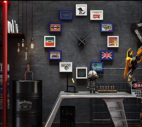 HEWEI Fotolijst bar woonkamer fotolijst wandklok grote combinatie creatieve foto hangend muur industriële foto decoratief design Moda (kleur: B)