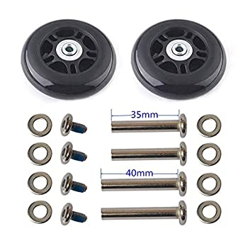 F-ber Luggage Suitcase Wheels Replacement Kit 75x24mm/2.95 x0.94  w/ABEC 608zz Inline Outdoor Skate Replacement Wheels One Set of  2  Wheels  OD 75 W 24 ID 6 Axles 35&40mm