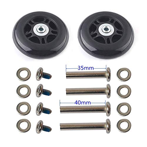 F-ber Luggage Suitcase Wheels Replacement Kit 75x24mm/2.95'x0.94' w/ABEC 608zz Inline Outdoor Skate Replacement Wheels, One Set of (2) Wheels (OD:75 W:24 ID:6 Axles:35&40mm)