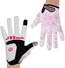 BRZSACR Bicycle Gloves Flower and Tree Design Bicycle Rock Climbing Motorcycle Bicycle Gardening Gloves for Men and Women Two Fingers Touch Screen (Pink, L)