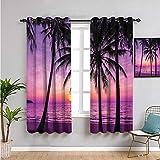 VICWOWONE Cortinas para dormitorio, 99 cm de largo, diseño de palmeras al atardecer, soñador, cálido crepúsculo, cortina para café, decoración de 54 cm de ancho x 39 pulgadas de largo