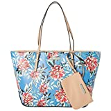 Nine West It Girl Isadore Tote with Detachable Pouch (Blue Floral)