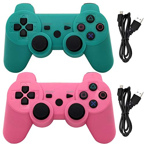 Ceozon PS3 Controller Wireless Playstation 3 Controller Bluetooth Gamepad Compatible for 2 Pack Sony PS3 Controller Wireless Remote Joystick with Charging Cords Green and Pink