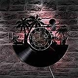 1 pieza Summer Sunny Beach Reloj de pared Decoración LED Lámpara colgante Playa Paisaje Surf Vinyl Record Reloj de pared Summer Sunset Gift