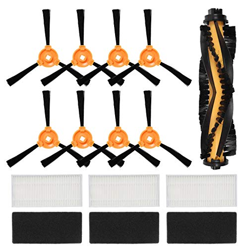 ZITFRI Kit Recambio para Cecotec Conga Excellence 990 Robot Aspiradora, 12 Pcs Set de Accesorios 3 Pares de Filtros Hepa, 8 Cepillos Laterales y 1 Cepillo Principal, Repuestos