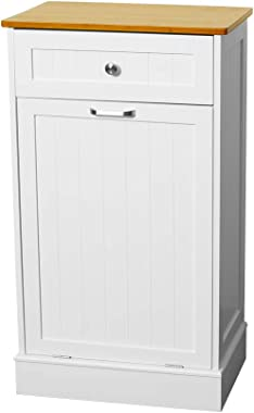 U-Eway Wooden Tilt Out Trash Cabinet Free Standing Kitchen Trash Can Holder or Recycling Cabinet with Hideaway Drawer Removab