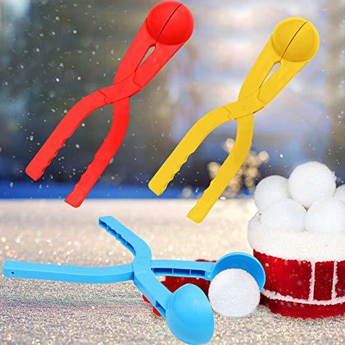Schneeballzange (3 Stk) - Große Runde Schneekugel Zange aus Plastik mit Griff - Outdoor Schneespielzeug Winter Gartenspiele Weihnachten Snowball Maker Zangen für Kinder, Erwachsene – Rot, Blau, Gelb