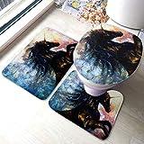 YUXB Juego de alfombras de baño Pintura sobre Lienzo Baile de Unicornio Negro Conjuntos de alfombras de baño Antideslizantes, Cubierta de Almohadilla de baño Alfombrilla de baño y Tapa de Inodoro