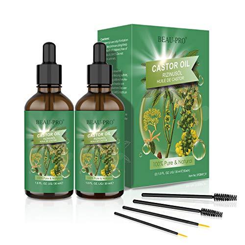 2*30 ML Aceite de Ricino 100% Orgánico y Prensado en Fríro No OGM para el Crecimiento de Cabello Pelo Pestañas, Cejas, Barba, Rostro,Uñas,Cuerpo y Cara