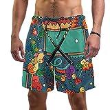 Pantalones Cortos de Playa de Verano para Hombre con Pantalones Cortos de Secado rápido con cordón de Cintura elástica con Bolsillos,Mesa de Billar y Snooker