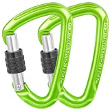 GM CLIMBING Ultra-Light Screw Locking Carabiner CE UIAA Certified Green Pack of 2