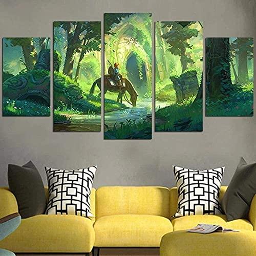 GUOJUNKE Cuadro De Lienzo 5 Paneles De Partes Impresión De Arte De Pared Completamente Leyenda De Zelda Link Y El Templo del Bosque Cartel De Decoración