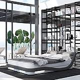 INNOCENT® - Okku LED | 160x200cm H3 | Designer Boxspringbett in Weiss PU/Stoff Grau | Hotelbett Designerbett in Härtegrad H3