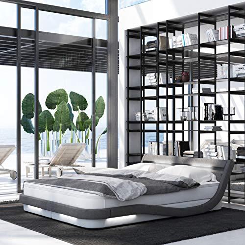 INNOCENT Okku LED | 140 x 200 cm H2 | Cama con somier de diseño en blanco PU / tela gris | cama de hotel de diseño en dureza H2