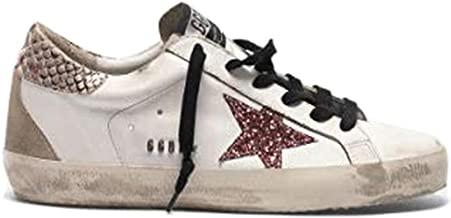 Golden Goose Deluxe Brand Superstar Women Sneakers with Glitter Star Snakeskin Print Heel Tab and Metal Stud Lettering G35WS590.R56