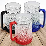 Freezer Ice Mugs, Drinking Glasses, Double Wall Gel Frosty Beer Mugs with Color Infused Handle for Parties and Gifts, Clear 16oz Set of 3 (Blue, Red and Black)