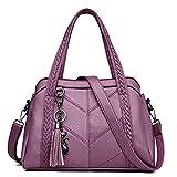 FTSUCQ Womens Trendy Satchels Shoulder Handbags Casual Messenger Bag Hobos Satchels Purse (Purple)