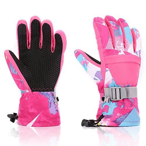 Ski Gloves, Yidomto Waterproof Warmest Winter Snow Gloves for Mens, Womens, Boys, Girls, Kids(Pink-M)