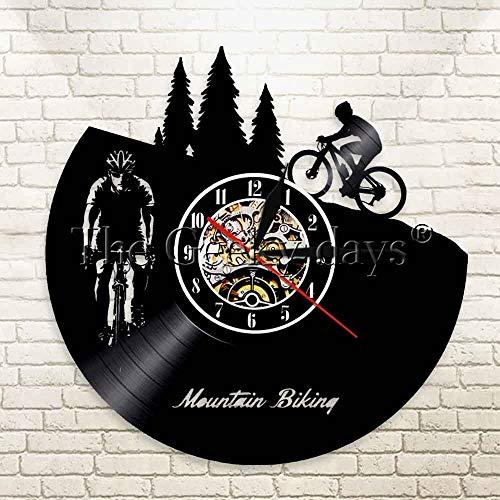 FDGFDG Mountainbike Wanduhr Freeride Biker Sport Vintage Wanddekoration Vinyl Schallplatte LP Uhr Fahrrad Radfahren Dekorative Uhr