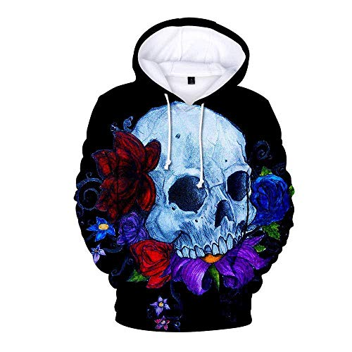 yyqx container Hoodies Casual 3D Impression Hoodies Skull et Blue Rose Flower Noir Manches Longues Respirant Unisexe Sweatshirts Réglable Cordon Pullover avec Kangaroo Pocket-Color_M