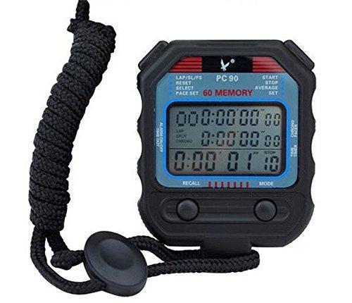 Cuzit digitale, professionelle Stoppuhr, dreireihiges Display, 60Rundenzeiten, zweiter digitaler Sport-Zähler/Timer, PC90,professionelle Leichtathletik-Stoppuhr für Herren