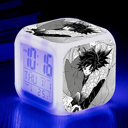 Totots Alarma Kamado Tanzirou Smart Creative Electronic Mute Mute Cama Luminosa Reloj Demon Slayer Home Desktop Decoración Colorida Night Light, Lazy Snooze Clock