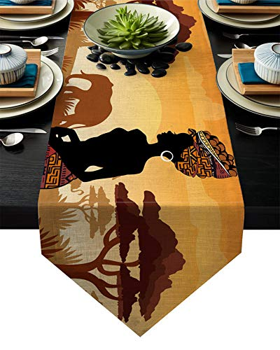 Hzryc Etnica African Elephant Runner Giraffa Moderna Sala Tavolo della Cucina Corridore Buffet Rustico Agriturismo Decorazioni di Nozze,33x178cm