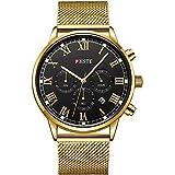 PHSTE Watches Men Chronograph Quartz Analog Date Luminous Roman Numeral Waterproof Gold Steel Mesh Band Black Face Casual Dress Wrist Watch Golden Wristwatch