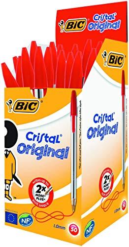 BIC Cristal Original Caja de 50 unidades - bolígrafos punta media (1,0 mm), color rojo - material oficina, material escolar