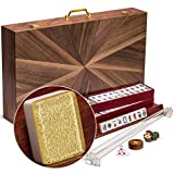 Yellow Mountain Imports American Mahjong Set, Golden Fortune with Inlaid Wooden Case - Four Wooden Racks, Acrylic Pushers, Wind Indicator, Dice & Wright Patterson Count Scoring Coins