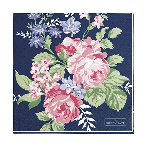 Greengate Servietten Papierservietten Napkin 'Rose dark blue' 33x33 cm 20 Stück