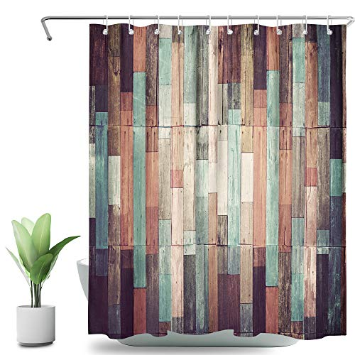 SVBright Antique Wooden Shower Curtain Colorful Barn Woods 60Wx72L Inch Rustic Plank Barn House Lodge Hardwood 12 Pack Hooks Polyester Waterproof Fabric Bathroom Bathtub Panels