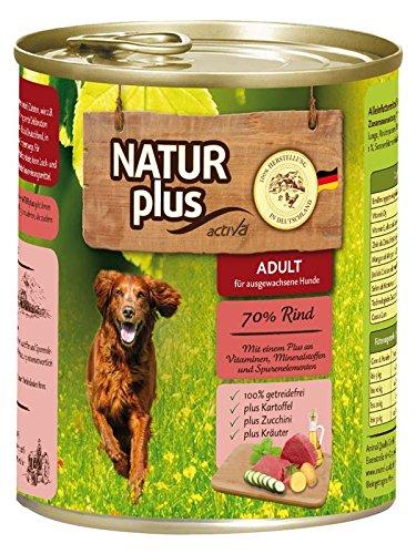 NATUR plus Hundefutter ADULT mit 70% Rind - getreidefrei (6 x 800 g)