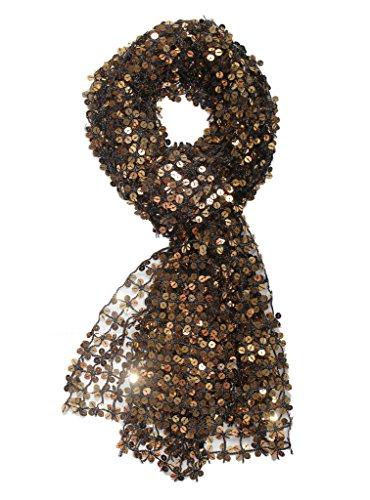 Alivila.Y Fashion Shinning Sequins Wedding Evening Scarf Shawls A05-BlackGold