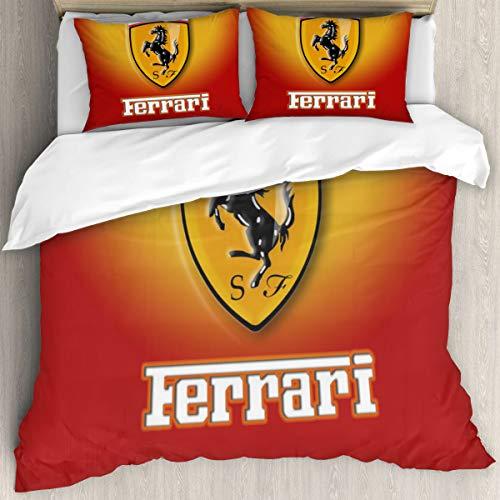 Ferrari - Juego de funda de edredón para cama individual (228 x 264 cm), diseño de Ronaldo de 3 piezas, 1 funda de edredón de microfibra y 2 fundas de almohada de 50 x 75 cm con cremallera