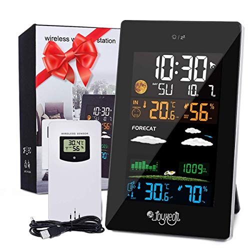 JOYXEON Wireless Weather Station with Outdoor Sensor, 21 in 1 Weather Forecast Station, LCD Color Screen, Indoor Outdoor Hygrometer Thermometer, Temperature Humidity Monitor Gauge, Alarm with Manual