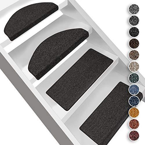 Floordirekt Stufenmatten London | Halbrund oder Eckig | Treppenmatten in 11 Farben | Strapazierfähig & pflegeleicht | Stufenteppich für Innen (Anthrazit, Halbrund 23,5 x 65 cm)