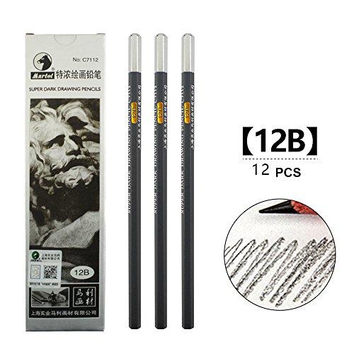 Sketch pencils, art paintings, wooden pencils, professional pencils, 12 pcs (12B)