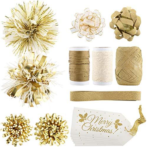 com-four® 16-teiliges Geschenkverpackungs-Set mit Geschenkschleifen, Geschenkbändern und Grußkarten - Geschenk Dekoration für Weihnachten - goldfarben