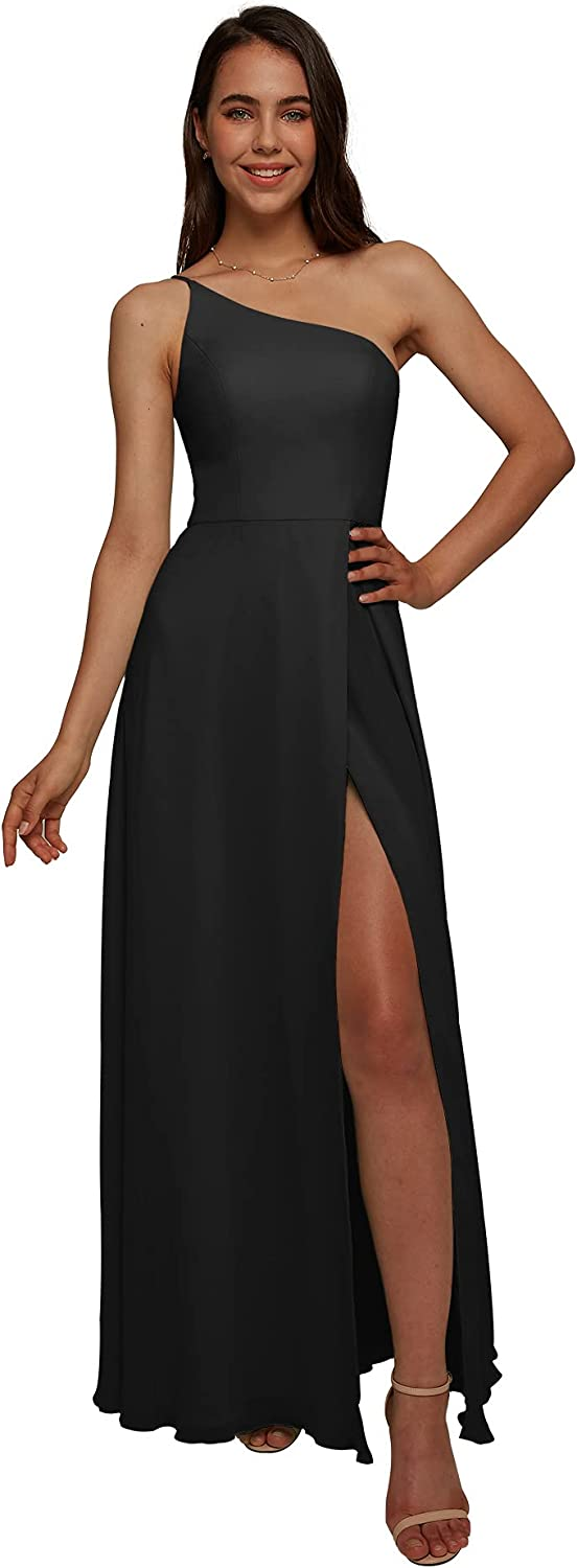 AW BRIDAL One Shoulder Chiffon Dresses Black Long Spring new work Bridesmaid For Special Campaign