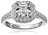 Platinum-Plated Sterling Silver Halo Ring set with Asscher Cut Swarovski Zirconia (1.5 cttw), Size 7